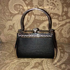 Handbags - Evening Clutch with Rhinestone & Crown Detail